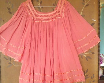 80s coral cheesecloth hippie / boho / peasant blouse with crochet and ribbon neck and super wide flared batwing sleeves