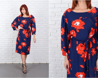 Vintage 70s Navy Blue Mod Dress Red Floral Print A Line 3X 9668