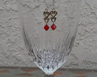 Silver hearts with red crystal earrings