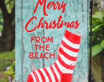 Christmas Flag | Candy Cane Stocking | Beachy Christmas | Garden or Large House Flag | Size via Dropdown | Convo for Custom