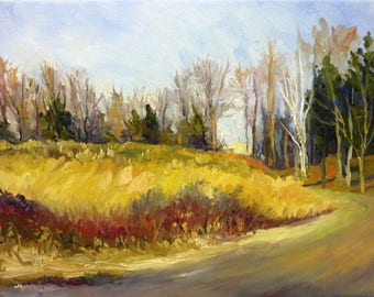 Golden Meadow Landscape Oil Painting on Canvas