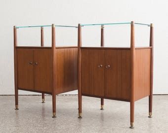 Pair Mid Century Nathan Nightstands / End Tables