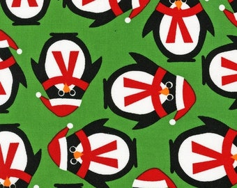 "END OF BOLT - 23.5"" X 44"" - Penguins on Green From Robert Kaufman's Jingle Collection"