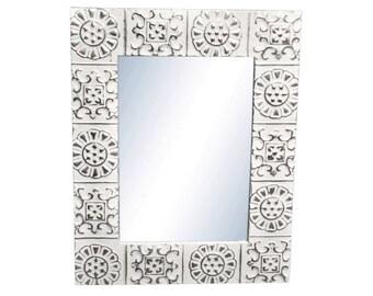 Alternating Flower 22 in. x 28 in. Tin Mirror