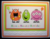 Three Little Monsters Birthday Card