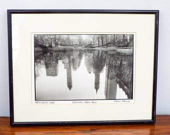 Signed Original Chaim Kanner Silver Gelatin Print Central Park Pond New York 88, One of A Kind Housewarming Gift Idea, Modern Home Decor