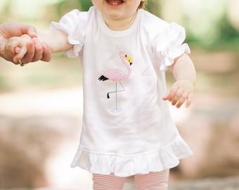 Baby Flamingo Shirt, Personalized Flamingo Shirt, Girls Summer Shirt. Zoo Shirt, Flamingo Baby Outfit