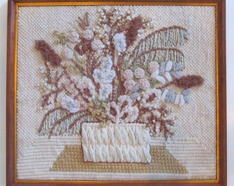 Vintage 70's Anthropologie Style Farmhouse Shabby Chic Cottage Floral Bohemian Crewel Embroidery Needlework Framed Wall Hanging Art Picture