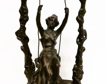 Sale Antique French Bronze Sculpture Statue Woman on a Swing Signed Moreau Home Decor