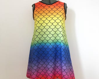 Rainbow Mermaid A-Line Dress