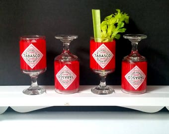 70s TABASCO Bloody Mary Glasses - Set of 4 - Party Ready