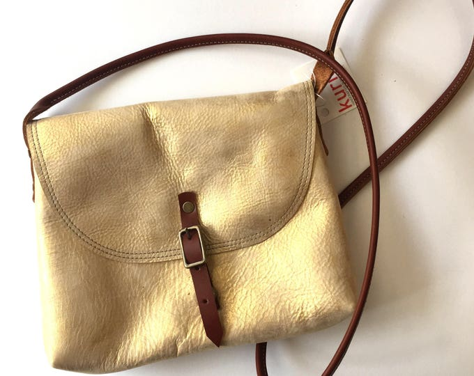 Shimmering gold KARINA crossbody leather bag