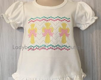 Girl's Crosses with Bows Faux Smock Short Sleeve Ruffle Top Sizes 12M-18M, 2T-5T, 6
