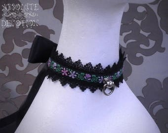 Pink Meadow Collar with Large Bow - Ready To Ship - Absolute Devotion