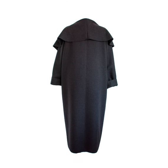 Wool cashmere coat/ Black wool coat/ Plus size wool coat/ Long