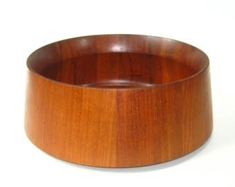 "Jens Quistgaard Dansk Staved Teak Wood Large 11.75"" Salad Serving Bowl JHQ Denmark"