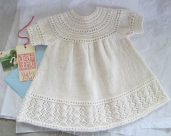 Hand Knit Baby Dress Size 6M Baby Girl Lace Border White Wool