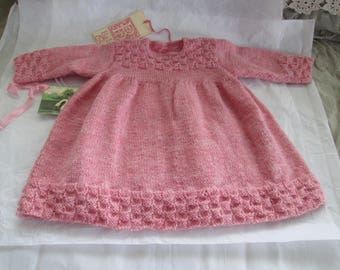 Hand Knit Baby Dress Toddler Girl Sweater Jumper Vintage Style 12M 18M