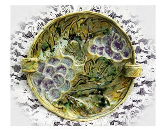 handle trinket dish , double handle ceramic dish, ceramic grape dish , decorative grape dish , Pottery Dish,   # 181