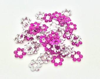 100 pcs Purple Floral Sew on Flatback Rhinestones