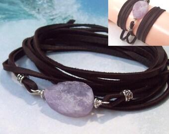 Amethyst Wrap Bracelet, deerskin leather wrap, boho bracelet, gemstone, long, anklet, necklace, wrapped, bohemian jewelry
