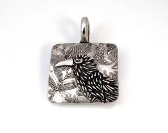 Sterling Silver, Raven, Corvidae, Crow, Raven Pendant, Raven Necklace, Raven Jewelry, Raven Totem, Crow Jewelry, Silver Raven, 979ac