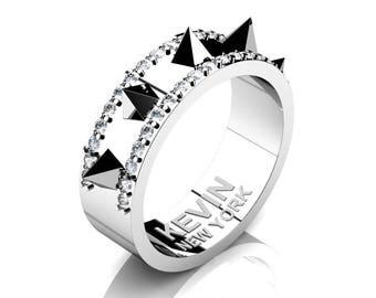 Mens New York 14K White Gold Diamond Crown Spike Wedding Band RK101M-14KWGD