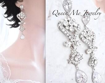 Crystal chandelier earrings, Brides earrings, Crystal wedding earrings,Brides earrings,Chandelier earrings,Vintage style wedding earrings~