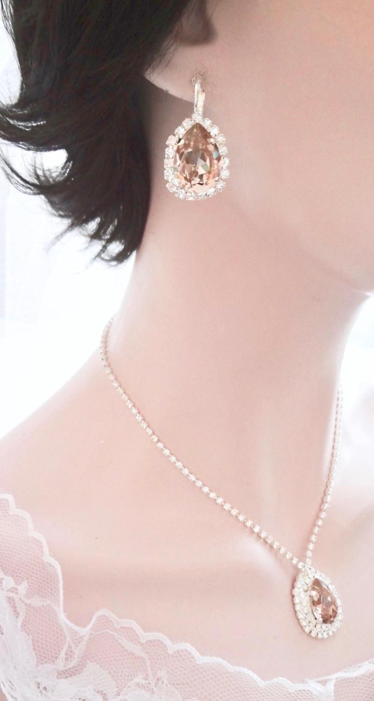 Blush crystal earrings, Swarovski Vintage Rose crystal earrings,Halo ...