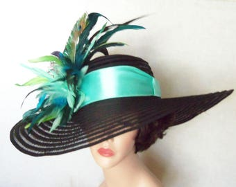 Womens Black Hat - Peacock Feathers - Kentucky Derby Hat, Garden Party Hat or Victorian Tea Party