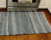 Denim Rag Rug Made by Amish - Farmhouse Chic Runner Rug + Home Decor, Recycled Out of Blue Jeans, Denim Rug, Blue Rug, Denim Rug, 4 FEET