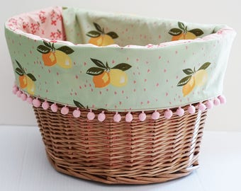 Electra Wicker Front Basket Liner in Mint and Pink Lemon Print, Bicycle Basket Liner, Electra Basket Liner, Bike Basket Liner