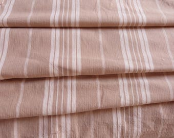 Vintage linen mattress ticking French ticking stripe fabric HUGE beige striped ticking mattress toile patchwork supply textile French fabric