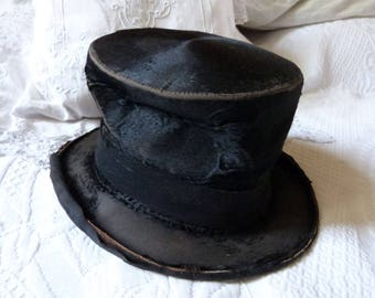 Antique French beaver top hat black scarecrow opera Gibus steampunk top hat victorian mens top hat w stamps man accessories gothic hat