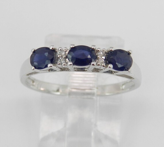 Diamond and Sapphire Three Stone Anniversary Ring White Gold Size 6.75