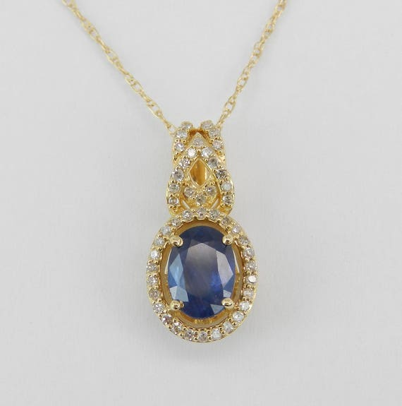 "Diamond and Sapphire Pendant Wedding Gift Necklace 14K Yellow Gold 18"" Chain"