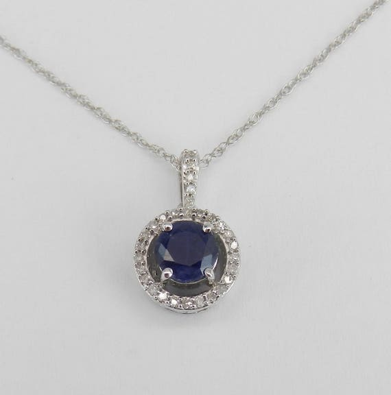 "Diamond and Sapphire Halo Pendant Wedding Necklace White Gold 18"" Chain September Gemstone"