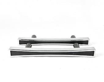 Pair MCM Drawer Pulls, Med century, Chrome and Black