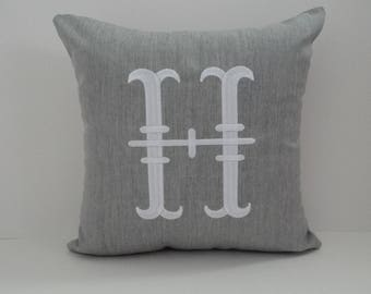 Custom MONOGRAM LETTER pillow cover indoor outdoor embroidered letter initial dorm nursery decor housewarming wedding gift oba canvas co.