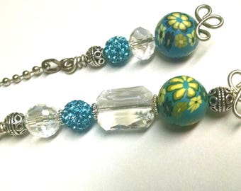 Fan / Light Pull Pair - Turquoise - Assorted Beads