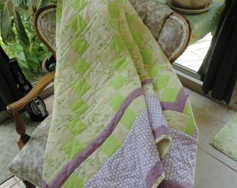 Hand Quilted 72x80 Lap Quilt by Karrirose in Lime Green and Lavender