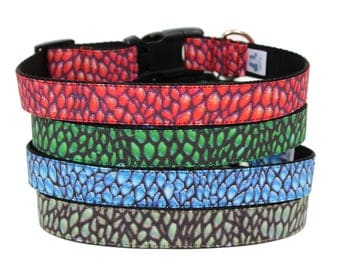 "Dragon Scales Dog Collar 3/4"" or 1"" Dragon Dog Collar Dog Collar"