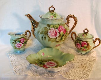 Tea Set by Lefton Heritage Pattern Hand Painted / Lefton Tea Pot and Creamer and Sugar Bowl