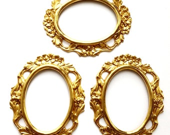 Brass Cameo Mounts, 3 Piece, Victorian Mounts, Rich Gold Plate, 40x30mm Mount, US Made, Nickel Free Finish, Bsue Boutiques, Item03465