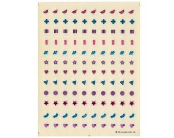 Vintage 80's HALLMARK Stickers Sheet ~ GEOMETRIC MINIS Stars Hearts Arrows Memphis