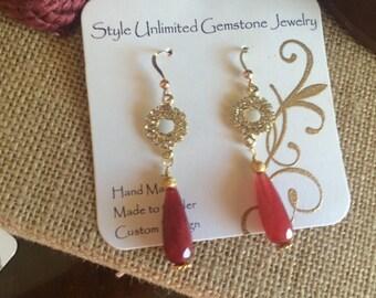 Ruby dangle earring