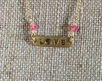 Pink & Gold Love Necklace