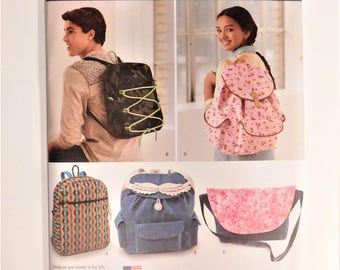 Assorted Backpack, and Messenger Bag, Four different styles and sizes, School bag, New Simplicity Sewing Pattern 1388 - 22 Pieces