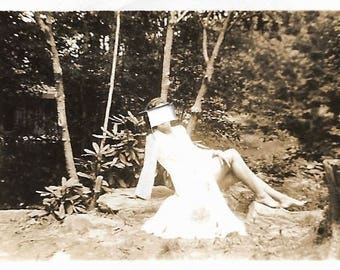 "Vintage Snapshot ""Defaced"" Altered Photo Angry Friend Relationship Breakup Faceless Girl Mini Small Snapshot Found Vernacular Photo"