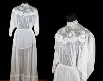 Victorian Dress Set // Ivory Lace and Net High Neck Blouse with Pintuck Skirt